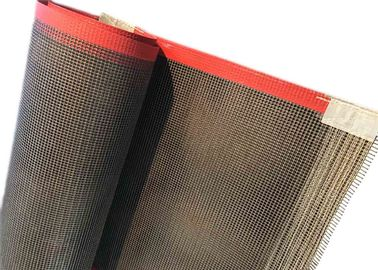 China 10 × 10 MM PTFE Teflen Mesh Curved Conveyor Belt Coated Fiberglass Red Edge supplier